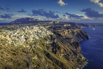 View of beautiful Fira village on Santorini Island in Greece