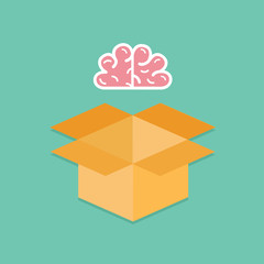 Pink brain opened cardboard package box  Idea concept. Flat