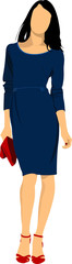 Cute lady in blue. Vector illustration