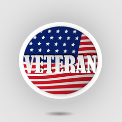 Veteran badge with USA flag Background