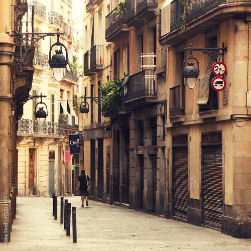 Poster Street in gothic quarter in Barcelona.