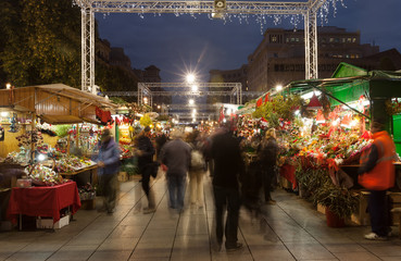 hristmas market near Cathedral in night. Barcelona