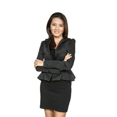 Portrait of a young asian business woman closeup beautiful posit