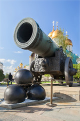 Tsar сannon and cannonballs in Moscow Kremlin.