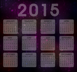 Calendar  Year 2015 Vector . Abstract Colorful Grunge Background