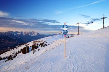 Ski slope in Kitzbuhel, Austria