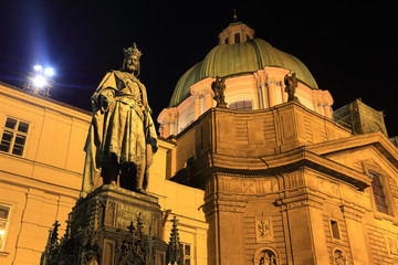 Statue of the Czech King Charles IV. in night Prague