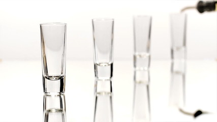 Row of Four Shot Glasses