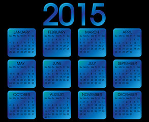 Calendar  Year 2015 Vector . Blue Square