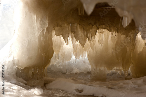 Leinwanddruck Bild Ice cave in winter