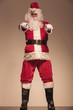 Santa Claus standing and pointing at the camera