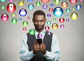 businessman using texting on smartphone communication technology