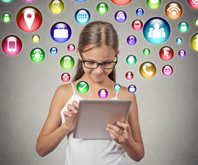 Girl using pad computer playing game multimedia icons