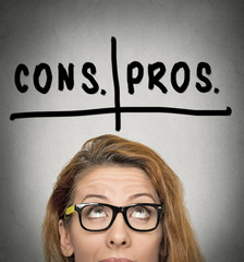 pros and cons, for and against argument motivation concept