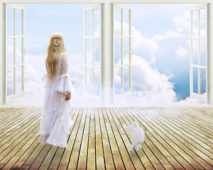 girl in white dress standing looking into window dreamland
