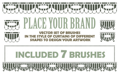 vector set of brushes in the style of curtains of different shap