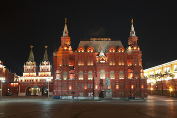 Historical Museum at night. Moscow