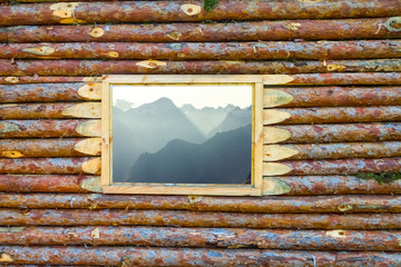 view from a wooden house window