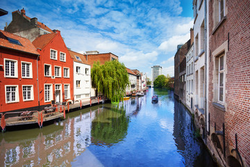 View of beautiful river in Ghent, Belgium