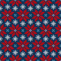 Poinsettia Red/Blue/White Seamless Pattern Knitted