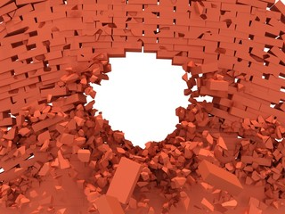 Broken brick wall with hole.