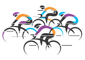 Cyclists racers colorful background