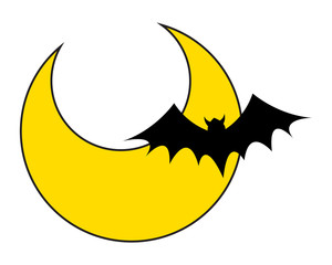 Bat with Moon Background