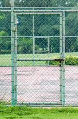 door lock on tennis court.