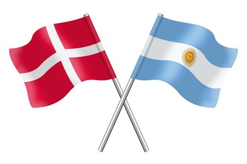 Flags: Denmark and Argentina