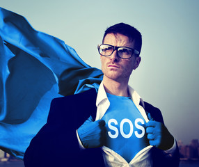 Superhero Businessman Sos Word Concepts