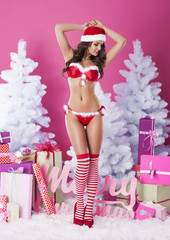 Beautiful woman in sexy lingerie of santa claus