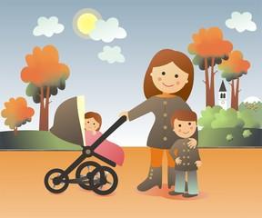 Mamá de paseo en otoño