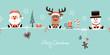 Card Santa, Rudolph & Snowman Symbols Retro