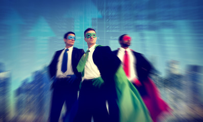 Superhero Businessman Stock Market Concepts
