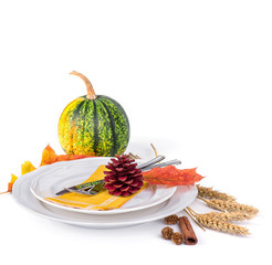 Autumn decoration on a white background