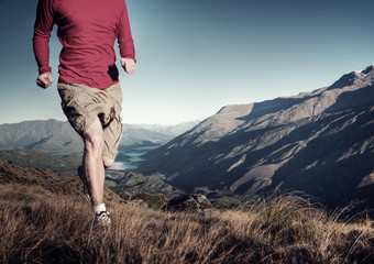 Man Jogging Mountains Exercise Wellbeing