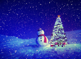 Christmas Tree Snowman Outdoor Concepts