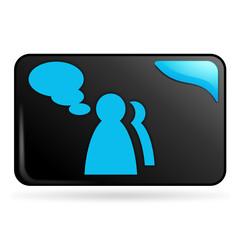 témoignage sur bouton web rectangle bleu