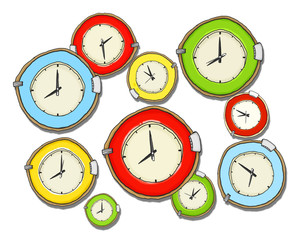 Multicoloured Group of Clock Isolated