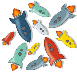 Group of Colorful Rocket Illustrations