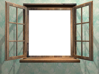 Open wooden window