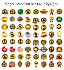 Mega Collection Set of 64  Quality Label Signs. Vector Illustrat