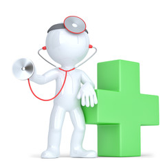 3d Doctor with a stethoscope in hands. Isolated. Clipping path
