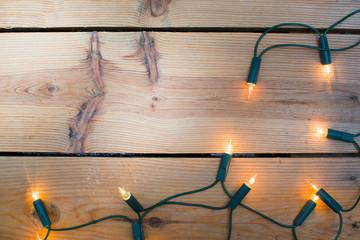 Christmas light on wood