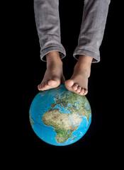 Two feet in the globe