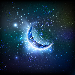 Shiny crescent moon, easy all editable