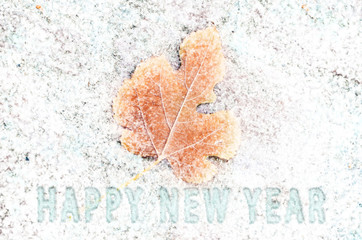 happy new year snow leaf