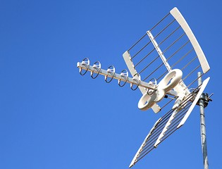 Antenna TV aerial for reception of TV channels and the blue sky