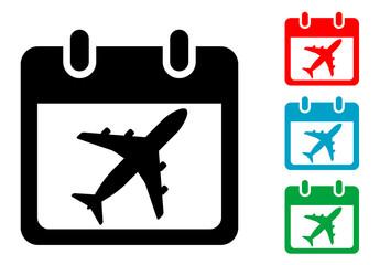 Pictograma calendario viaje con varios colores