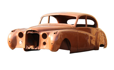 Old fashioned body car isolated on white